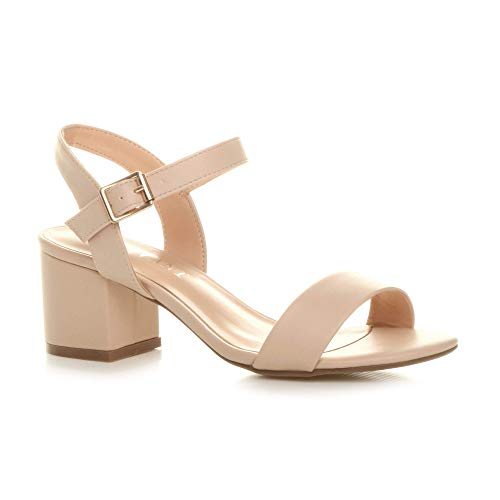 Ajvani Women Ladies Low Block Heel peep Toe Ankle Strap Strappy Party Sandals, 6 UK, Nude Matt