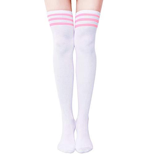 Aneco - Calcetines de caña alta para mujer, calcetín de bota, calcetín hasta la rodilla, calcetines altos, calentadores de piernas, para uso diario, cosplay - - M