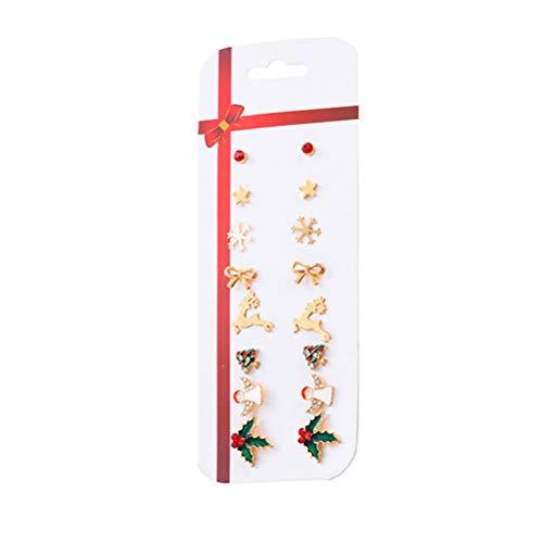 PRETYZOOM 8 Pairs of Christmas Earring Set Christmas Themed Ear Studs Snowman Cane Dangle Earrings Festive Ear Jewelry Gift for Women