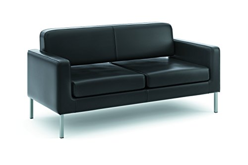 """HON Corral Leather Sofa - Two-Cushion Guest Couch for Office Space, 28""""D by 67""""W by 30.5"""" H, Black (HVL888)"""