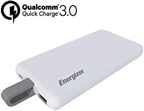 Energizer UE8002CQ Ultimate Power Bank 8000mAh with Built-in USB Type-C Cable, 3.0Quick Charge, 2 Dual Port for Smartphones & Tablets (White)