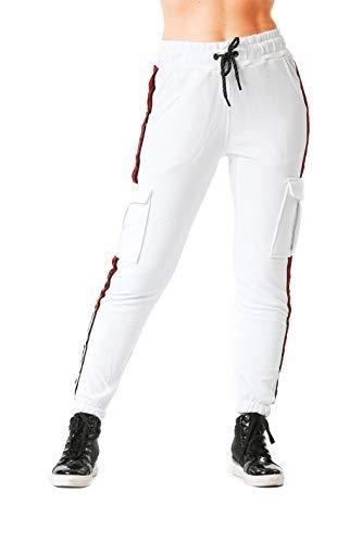 Damen | Jogginghose | Trainingshose | Sport Fitness | Gym | Training | Slim Fit | Sweatpants Streifen | Jogging-Hose | Stripe Pants | Modell 1224 Weiss M