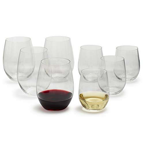 Riedel O Chardonnay und Cabernet Stiellose Weingläser 5414/50, transparent, 8 Stück