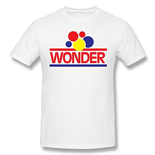 Udwios Men Men's Short Sleeved T-shirt Wonder Bread Logo Casual White Short Sleeve L