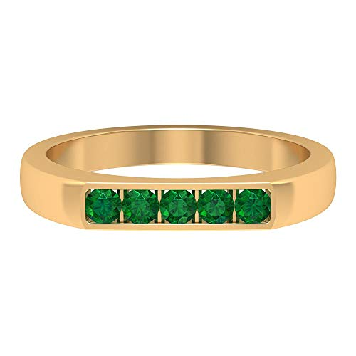 2.4 MM Round Lab Created Emerald Ring, Channel Set Eternity Band, Gold Five Stone Ring (AAAA Quality), 14K Yellow Gold, Size:UK -1