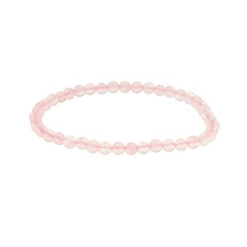 Bracelet Pierre Naturelle 4mm Femme/Homme,Quartz Rose, Bijoux Perles Idée Cadeau Anniversaire Maman Couple (Quartz Rose)