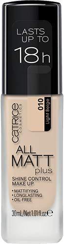 Catrice All Matt Plus Shine Control Make Up, Foundation, Nr. 010 Light Beige, nude, für Mischhaut, für unreine Haut, langanhaltend, mattierend, matt, vegan, ölfrei, ohne Alkohol (30ml)