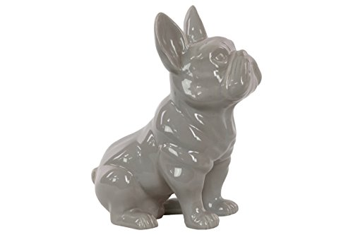 Urban Trends Ceramic Sitting French Bulldog Figurine with Pricked Ears Gloss Finish, Gray