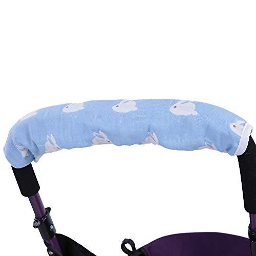 Cubierta de la manija del cochecito de bebé Cubierta de la barra protectora desmontable Accesorios de la silla de paseo para cochecitos(20 * 40-Azul)