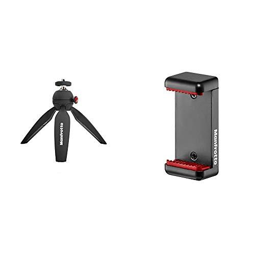 Manfrotto MTPIXI-B PIXI Tischstativ für Compact System Kamera, schwarz (Standard Edition) &  MCLAMP  Smartphone Halterung schwarz