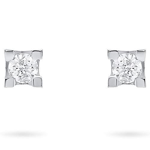 Orecchini oro bianco 18 kt punto luce con diamanti naturali ct. 0,50