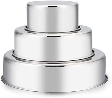 Cake Pan Set of 3 4 inch 6 inch 8 inch E far Stainless Steel Small Round Layer Cake Baking Pans product image