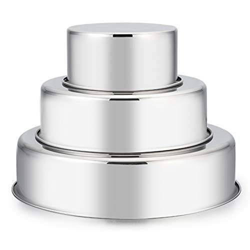 Cake Pan Set of 3 (4 inch/6 inch/8 inch), E-far Stainless Steel Small Round Layer Cake Baking Pans, Perfect for Tier Smash Cake, Non-Toxic & Healthy, Mirror Finish & Dishwasher Safe