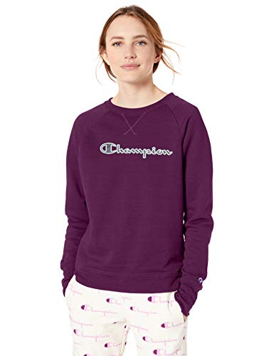 Champion Women's Powerblend Boyfriend Crew Sweatshirt, Venetian Purple-Applique, Medium