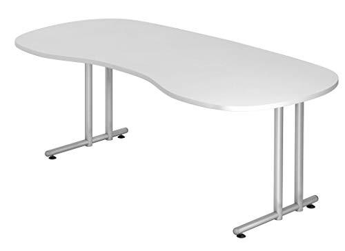 Froschkönig24 Cockpit-Schreibtisch 16601 Schreibtisch Nierentisch Tisch Bürotisch 200x100cm, Dekor:Weiß, Blende:Silber