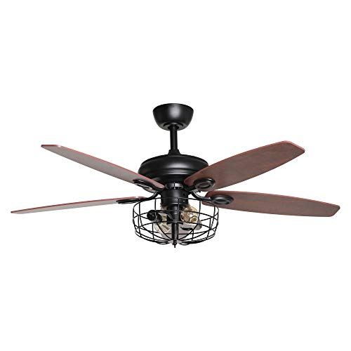 Ceiling Fan Chandelier Ceiling Fan with Lights and Remote Control Reversible Black Farmhouse Ceiling Fan for Bedroom, 52 inch, 2 Bulbs Not Included
