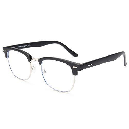 Livhò Elegante montatura per occhiali trasparente Montatura per occhiali blu chiaro per occhiali per computer Blocco dannoso per raggi UV - Ingrandimento 0.0 (nero opaco)