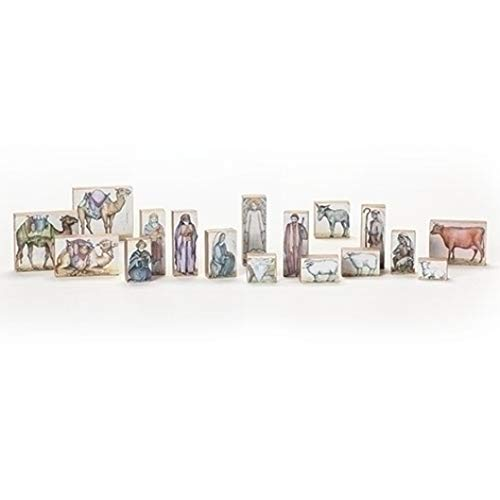 Roman 133037 Nativity Scene Block, Set of 17, 8-inch Height, MDF