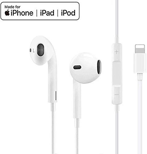 Auricolari per iPhone Auricolari in-Ear Cuffie con filo cablato Forniscono controllo del volume e del microfono compatibile con iPhone 11/11Pro/Max/XS/Max/XR/X/8/Plus/7 per iOS 10/11/12 (bianco)