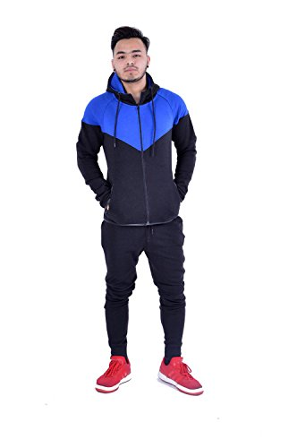 MyMixTrendz Chándal con capucha para hombre, con cremallera completa, contraste de cordel, forro polar cepillado, para correr, gimnasio, jogging Azul, negro XL