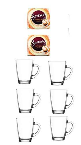Senseo Kaffeepads Cappuccino Caramel 2er Pack + 6er Set Gläser mit Henkel 300ml …
