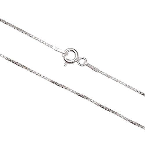 Aka Gioielli® - Collana Donna in Argento Sterling 925 Rodiato - Catenina Modello Veneziana 1 mm - Lunghezza: 40 cm