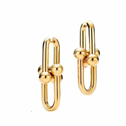 forocean Forma geométrica simple y exquisito cobre puro bañado en oro en forma de U aretes de aro aretes mujeres