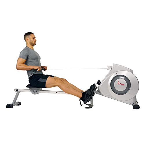 Sunny Health & Fitness Magnetic Rowing Machine w/ Digital Monitor, 300 LB Weight Capacity, Dual Function Multi-Exercise Foot Plates and Portability Wheels - SF-RW5612,Gray