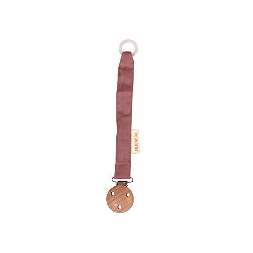 Filibabba® Schnullerkette aus Bio-Baumwolle und Holz | Nickel-freie Metalclips | Silikonring zum Befestigen | Dänisches Design (Dusty Rose)