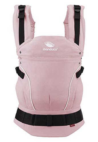 manduca First Baby Carrier > PureCotton < Mochila Portabebe Ergonomica, Algodón Orgánico, Extensión de Espalda Patentada, para Recién Nacidos y Bebés de 3,5 a 20 kg (PureCotton, Rose (rosa))