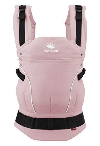 manduca First Babytrage > PureCotton Rose < Ergonomische Babytrage in Bio-Qualität (Leichter Canvas aus Bio-Baumwolle, Soft & Fusselfrei) für Babys & Kinder bis 20kg, rosa