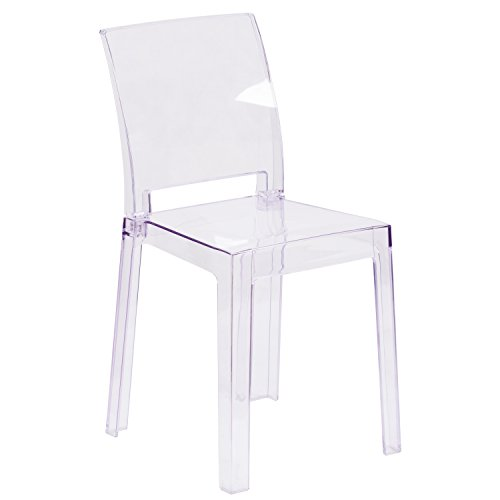 Flash Furniture Ghost Chair with Square Back in Transparent Crystal