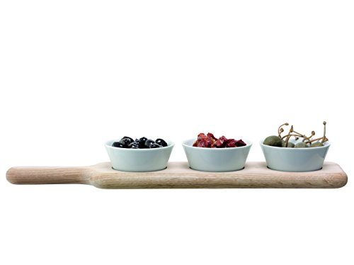 LSA International Ensemble de Bols Longs et Pelle en chêne Blanc, Porcelaine, chêne, Bowl Set & Oak Paddle L40cm