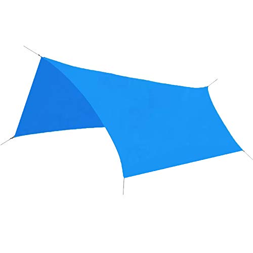 TRIWONDER Waterproof Hammock Rain Fly Tent Tarp Footprint Camping Shelter Ground Cloth Sunshade Mat for Outdoor Hiking Beach Picnic (Blue, L+Accessories)