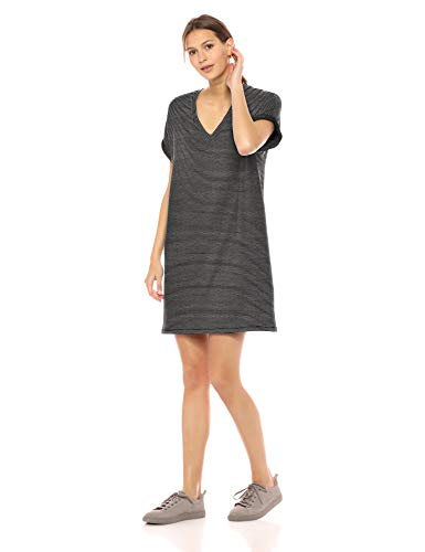 Amazon Brand - Daily Ritual Women's Supersoft Terry Deep V-Neck Roll-Sleeve High-Low Dress, BlackWhite Stripe, XX-Large