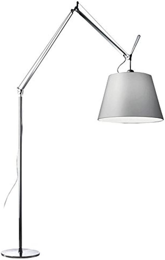 Artemide, lampada da terra Ø 42 cm, in alluminio, paralume in  satin di raso 0779010A+0778010A+0781030A