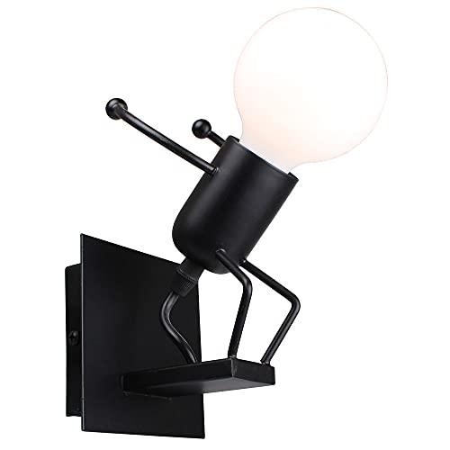 Lámpara de pared de hierro forjado retro, lámpara de Iron Man de dibujos animados, sala de estar LED, mesita de noche, habitación para niños, pasillo, bar, cafetería, restaurante, pasillo,B