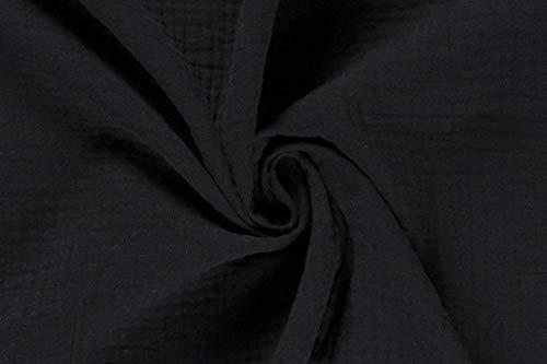 maDDma 50cm Musselin-Stoff Uni Meterware Oeko-Tex Mullstoff Mulltuch Baumwolle Farbwahl, Farbe:schwarz