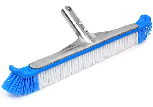 """Greenco Pool Brush Heavy Duty Aluminum Back Extra Wide 20"""" with EZ Clip and Strong Bristles for Cleaning Pool Floor & Wall"""