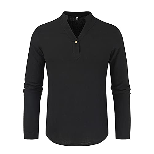 SSBZYES Camisa de Hombre de Manga Larga Camiseta de Manga Larga de Hombre Camisa de Fondo Escote en V Color sólido Casual Camisa de Manga Larga Suelta y Delgada Top
