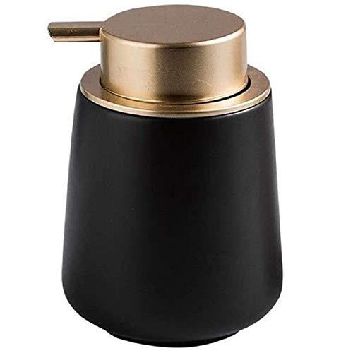 FülleMore 400ml Seifenspender Lotionspender aus Keramik Küche Spülmittelspender Badezimmer Dusche Flüssigseifenspender leicht nachfüllbar Shampoospender Duschgelspender 12.5x8.5cm (Schwarz)