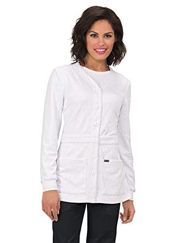 KOI 440 Women's Claire Knit Scrub Jacket White XS