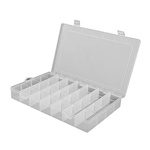 Hemoton Caja Contenedor Organizador de Plástico 28 Compartimentos Caja de Almacenamiento de Joyas con Separadores Ajustables