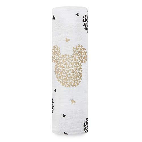 aden + anais - Maxi-lange grand format prélavé en mousseline 100% coton - Imprimé Disney Baby - Mickey's 90th - 120 cm x 120 cm