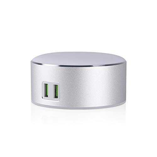 USide Nachttisch-Leuchte für Schlafzimmer, 3 Helligkeitsstufen, berührungsempfindliche Steuerung, Zwei integrierte Ladeanschlüsse zum Aufladen von Mobiltelefon-Tablets