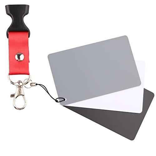 Graukarte für manuellen Weißabgleich und Belichtungsmessung, Fotokarte, 18 % Belichtung, individuelle Kalibrierung, Video, DSLR und Film, 3 Karten,...