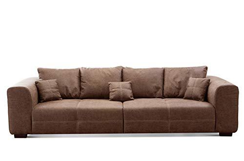 CAVADORE Big Sofa Mavericco inkl. Kissen / XXL-Couch mit tiefen Sitzflächen und modernem Design / 287 x 69 x 108 / Lederoptik cognac