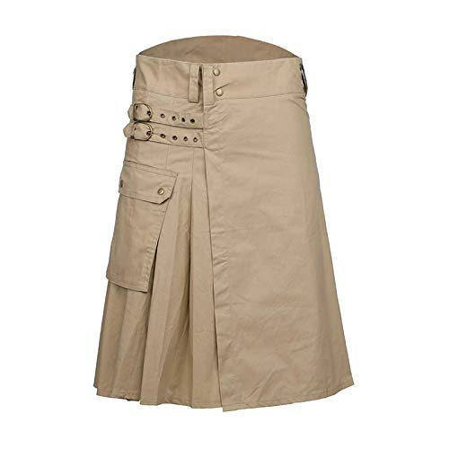 Mooie kilt rock gothic punk Scottish kilt kostuum tas heren rok mode riem rooster vlecht bilaterale zakketting R