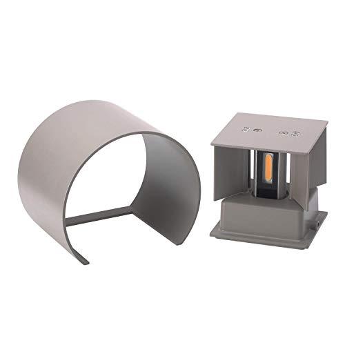 ETiME 12W LED Wandleuchte außen Wandlampe Wasserdicht mit einstellbar Abstrahlwinkel IP65 LED Wandbeleuchtung Warmweiß (Rund Grau 12W)