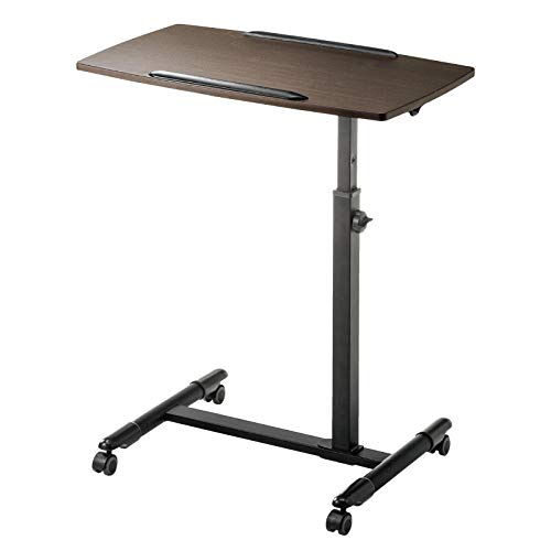 CHOUE Aluminum Alloy Pc Table with Brown Density Board,Adjusable height, Lockable Casters,Tables for Bed Tilting Overbed Bedside Table Overbed Desk Overbed Table